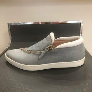 Furla 37.5 Spy Suede Leather Zip Sneakers Blue